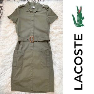Lacoste Military Olive Green Belted Dress Pockets